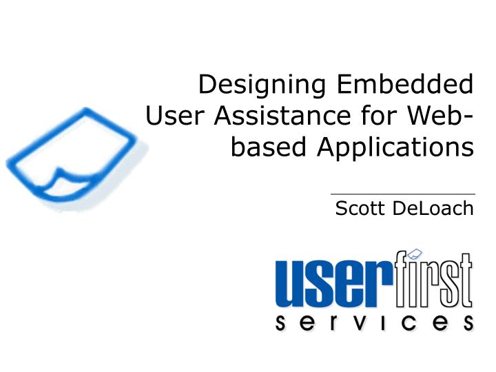 designing embedded user assistance for web based applications n.