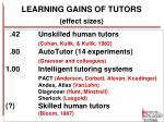 learning gains of tutors effect sizes