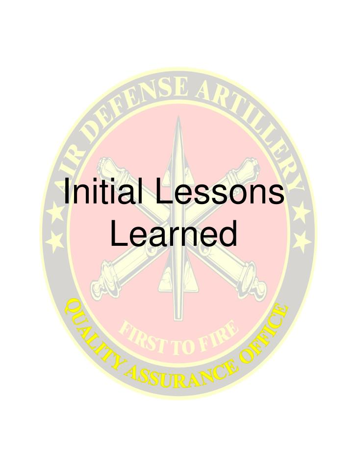 initial lessons learned n.