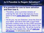 is it possible to regain salvation