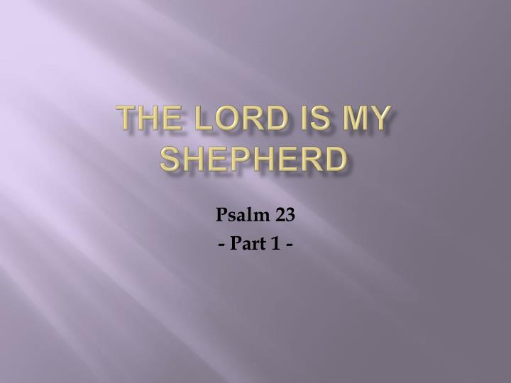 the lord is my shepherd n.