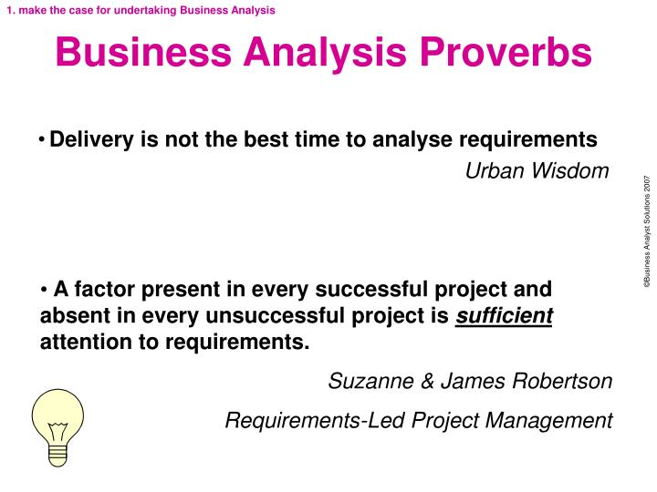 Business analysis proverbs