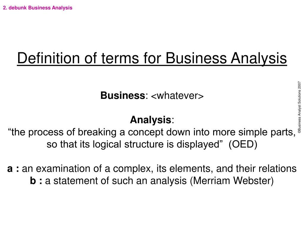 2. debunk Business Analysis