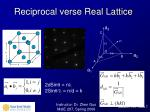 reciprocal verse real lattice