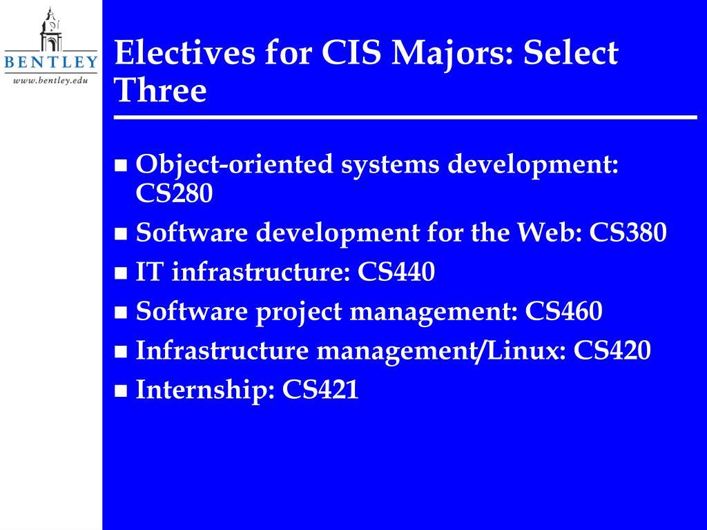 Electives for CIS Majors: Select Three