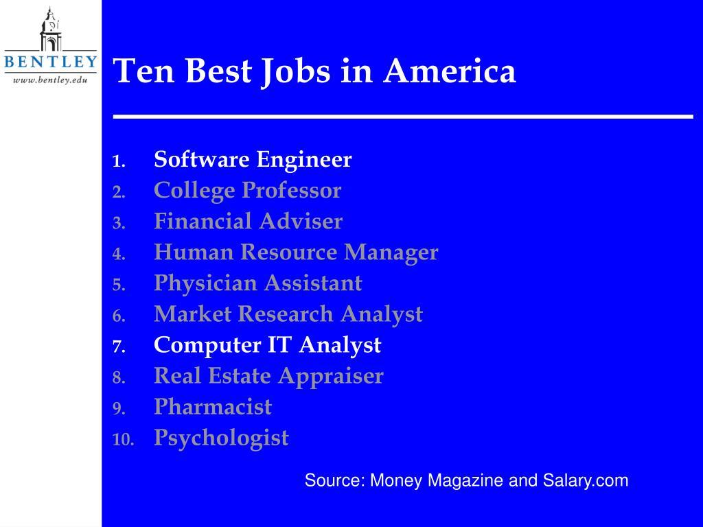 Ten Best Jobs in America