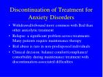 discontinuation of treatment for anxiety disorders
