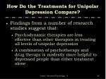 how do the treatments for unipolar depression compare3