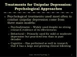 treatments for unipolar depression psychological approaches