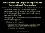 treatments for unipolar depression sociocultural approaches