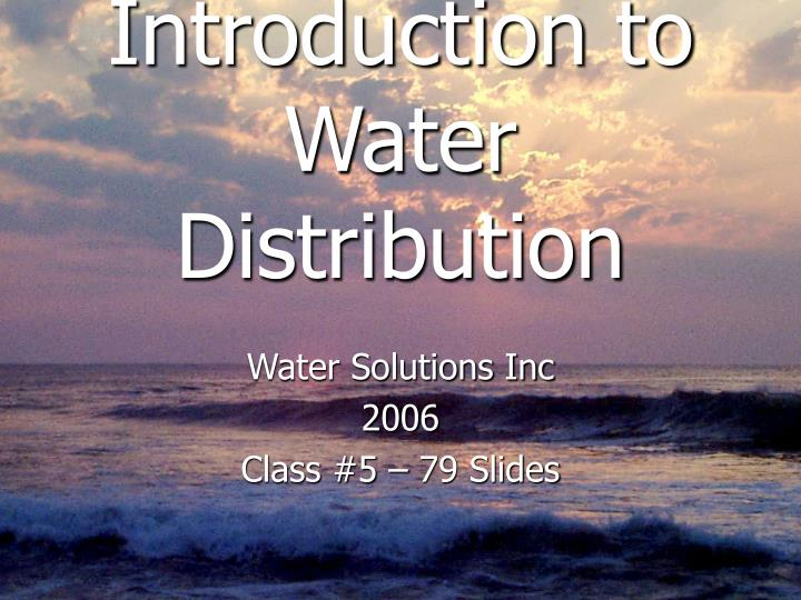 introduction to water distribution n.