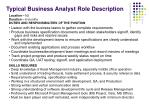 typical business analyst role description
