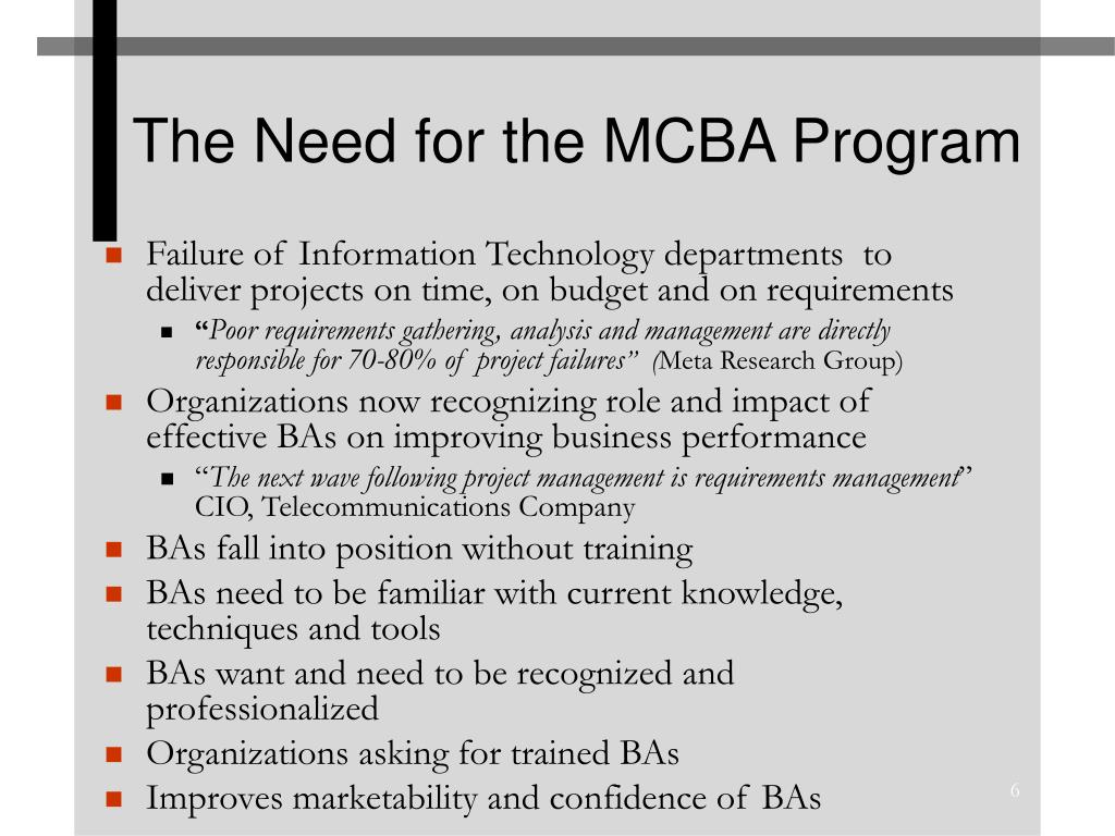 The Need for the MCBA Program
