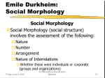 emile durkheim social morphology