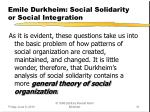 emile durkheim social solidarity or social integration2