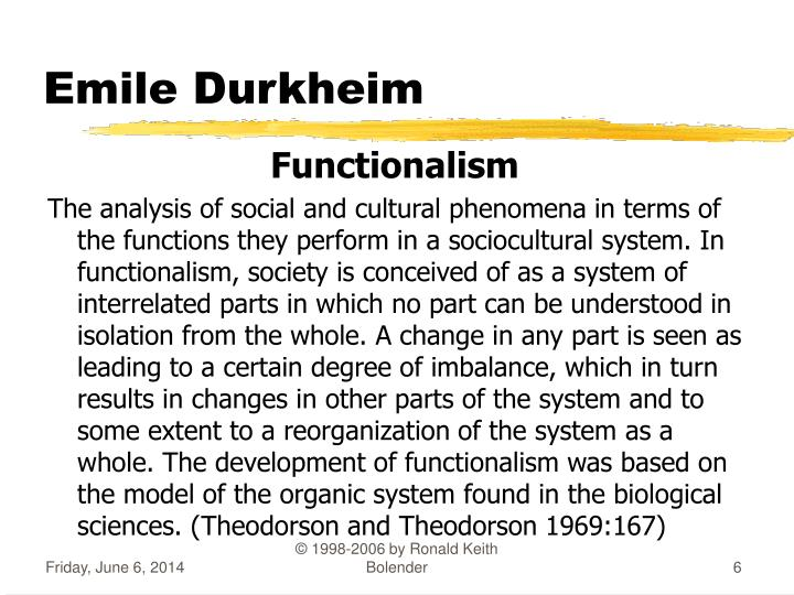 an analysis of emile durkheims sociological theory Emile durkheim essay examples 49 total results an essay on the possibility of social order in our society 1,271 words 3 pages an examination of the film.