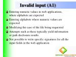 invalid input a1