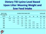 dietary tid lysine level based upon litter weaning weight and sow feed intake