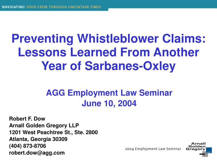 preventing whistleblower claims lessons learned from another year of sarbanes oxley n.
