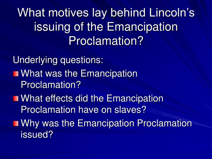 emancipation of slavery essay Emancipation proclamation essay 937 words | 4 pages the emancipation proclamation was an order signed by president abraham lincoln during the american civil war in attempt to abolish slavery in the ten rebellion states in the confederacy.