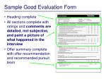 sample good evaluation form