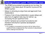 challenges lesson learnt procurement issues