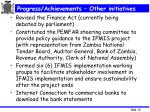 progress achievements other initiatives
