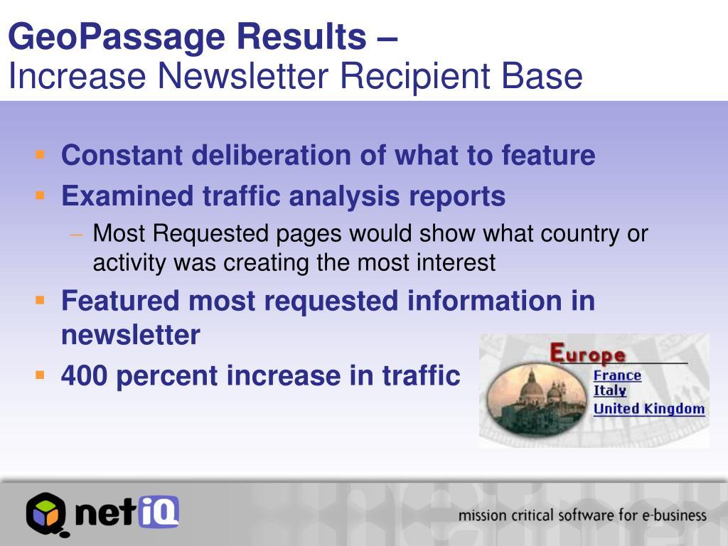 GeoPassage Results –