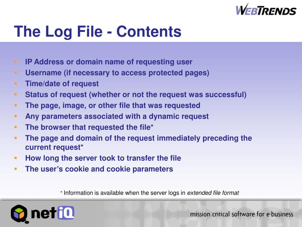 The Log File - Contents