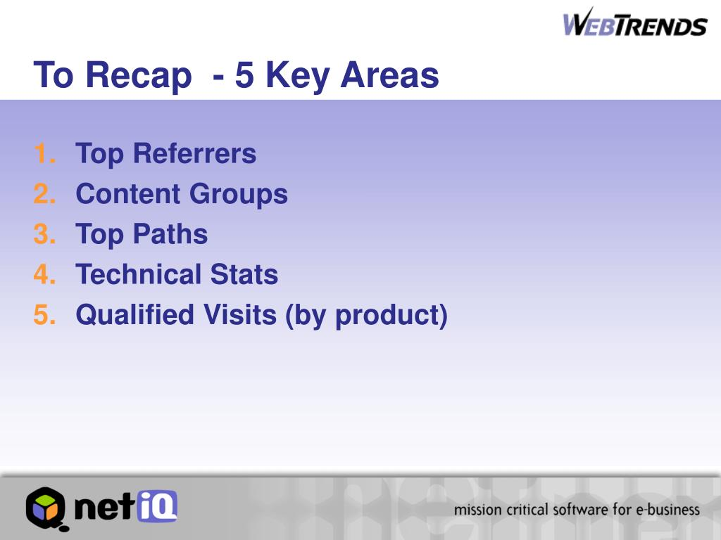 To Recap  - 5 Key Areas