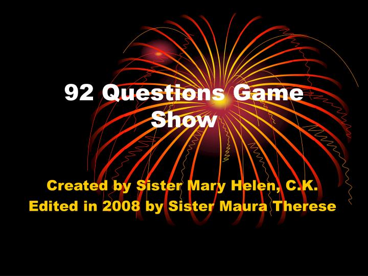 92 questions game show n.