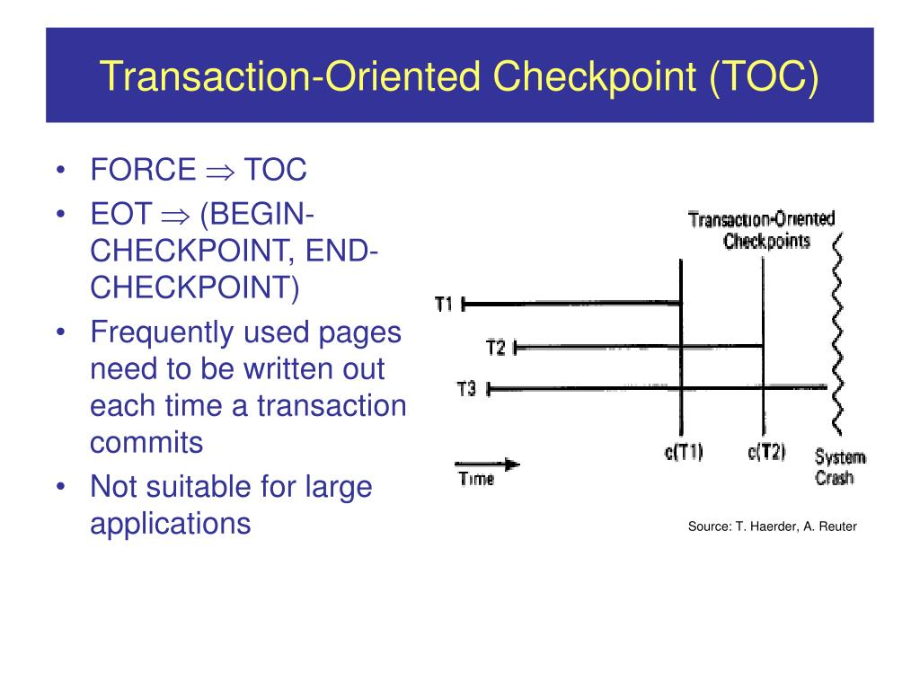 Transaction-Oriented Checkpoint (TOC)