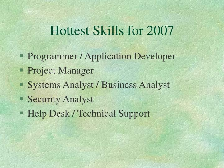Hottest skills for 2007