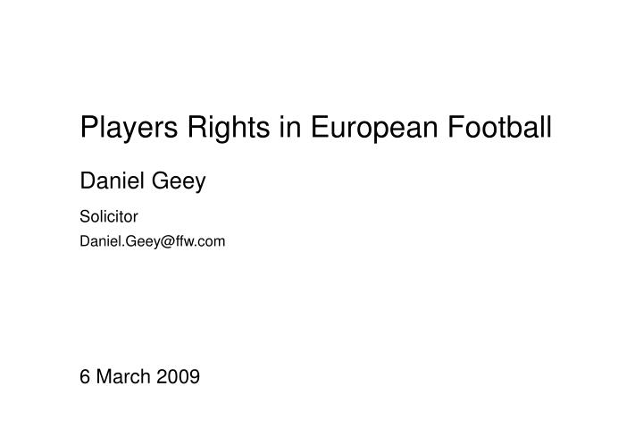 players rights in european football n.