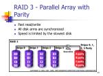 raid 3 parallel array with parity