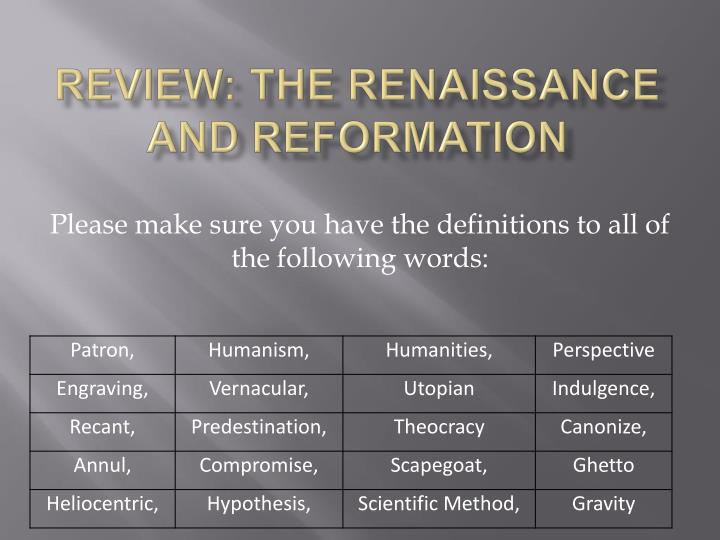 review the renaissance and reformation n.