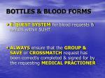 bottles blood forms