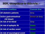 sgh exceptions to this rule