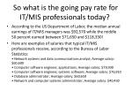 so what is the going pay rate for it mis professionals today