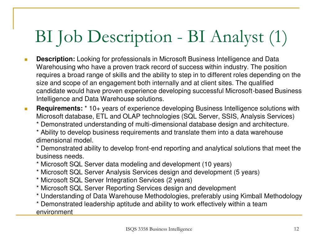 BI Job Description - BI Analyst (1)
