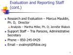 evaluation and reporting staff cont