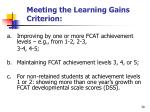meeting the learning gains criterion