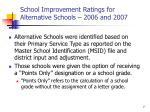 school improvement ratings for alternative schools 2006 and 2007