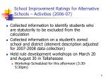 school improvement ratings for alternative schools activities 2006 07
