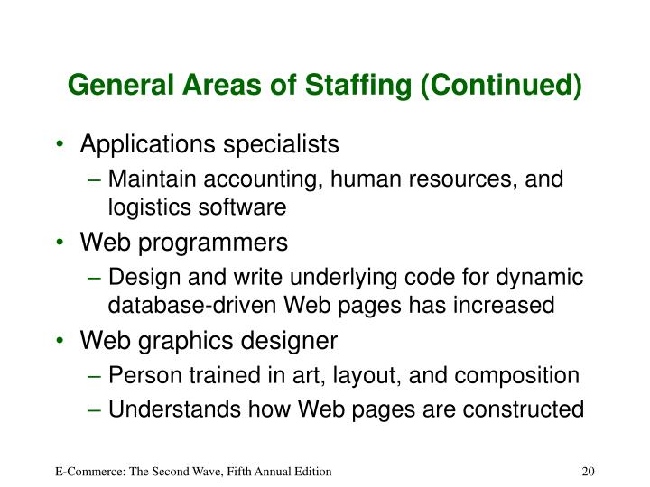 General Areas of Staffing (Continued)