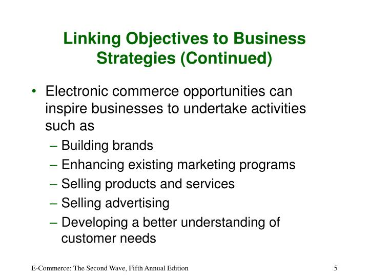 Linking Objectives to Business Strategies (Continued)