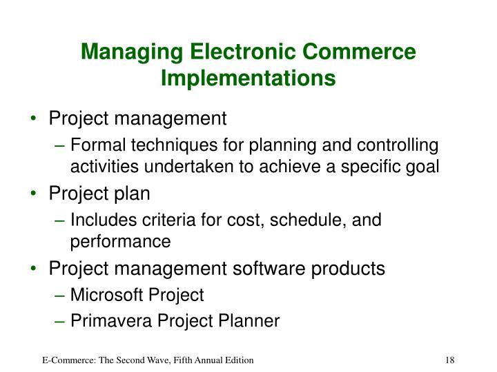 Managing Electronic Commerce Implementations