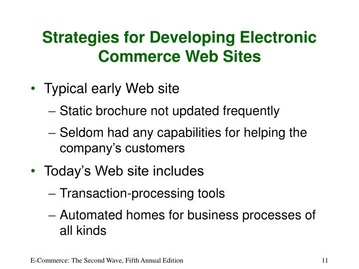 Strategies for Developing Electronic Commerce Web Sites