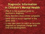 diagnostic information in children s mental health