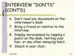 interview don ts cont d